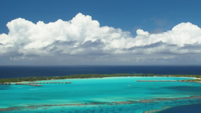 Time Lapse Clouds over Bora Bora Lagoon, French Polynesia