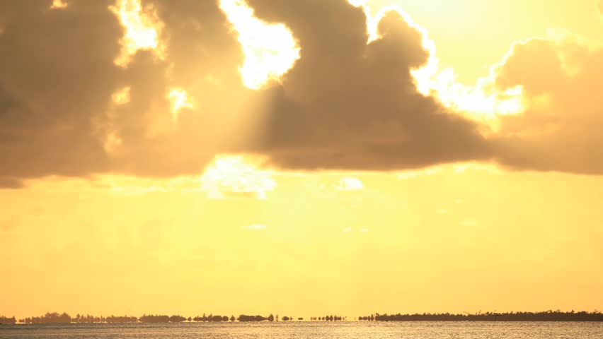 Time Lapse Sunset over Manihi Lagoon, Tuamotos, French Polynesia
