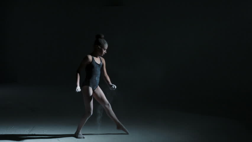 young Caucasian girl barefoot black leotard contemporary dance dancing powder lighting silhouette creative dramatic learning training & Caucasian Teenager Dancer Black Leotard Indoors Studio Freestyle ... azcodes.com