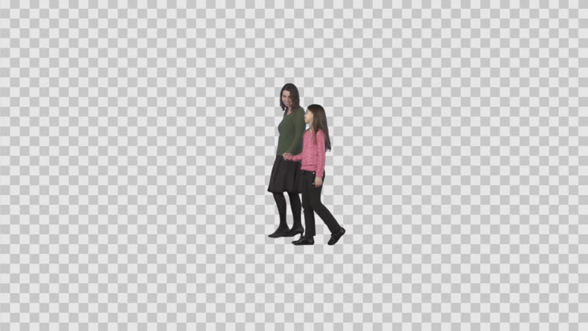 Smiling woman & little girl teenager walk together & talk. Footage with alpha channel. File format - .mov, codec PNG+Alpha. Shutter angle -180 (native motion blur)