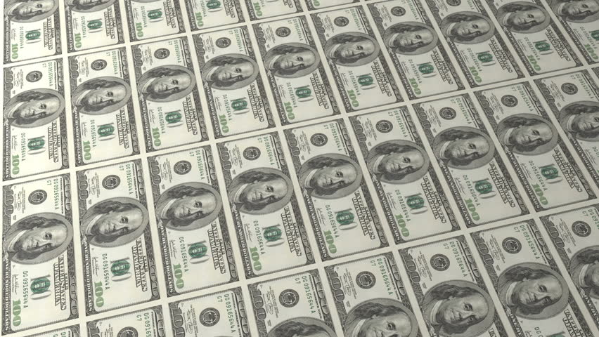 Multiple 100 American Dollar Bill background in two sheets, one magnified | Shutterstock HD Video #1591243