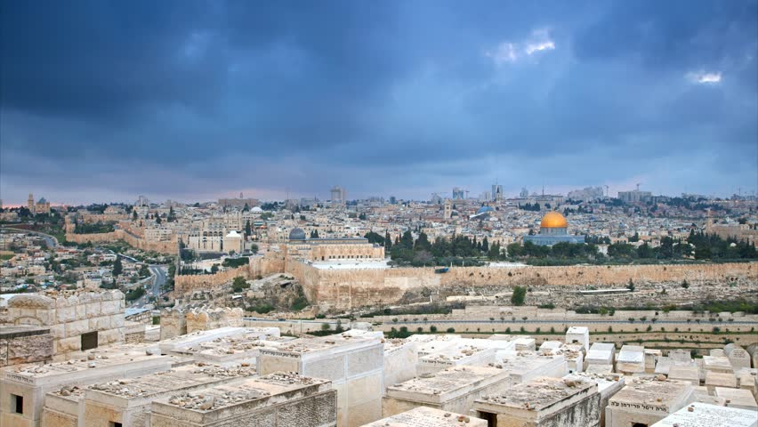 Dramatic clouds over Jerusalem old city, Israel. Time lapse, UHD, 4K