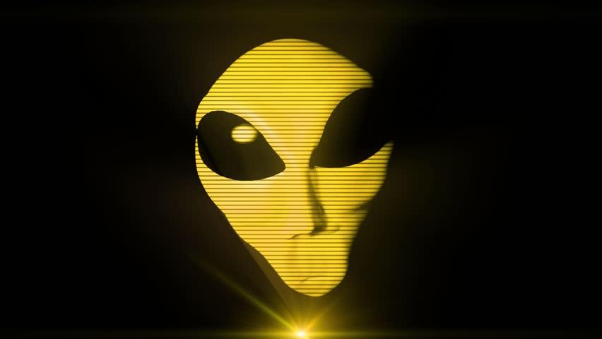 Alien grey hologram head face creepy extraterrestrial gray ufo 4k | Shutterstock HD Video #15922867