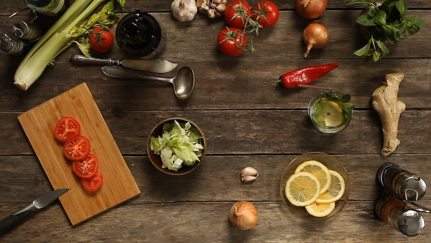 table top background hd. cut tomato salad on a wooden table. vintage background. top view. overhead table background hd