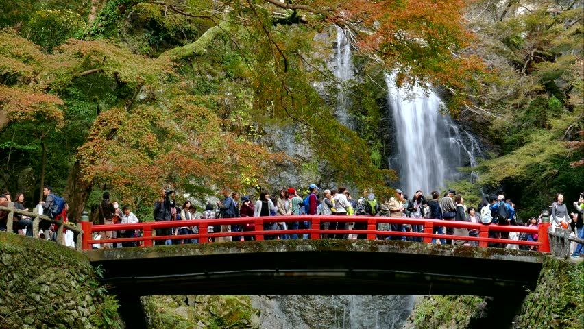 Osaka An Nov 21 2017 Tourists At Minoo Waterfall In Minoh Or Mino It Is One Of The Best Places Kansai Region To See