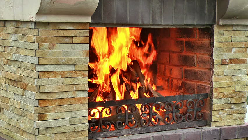 Burning Wood In The Fireplace, Fire Flame Close Up, A Fire Starts ...