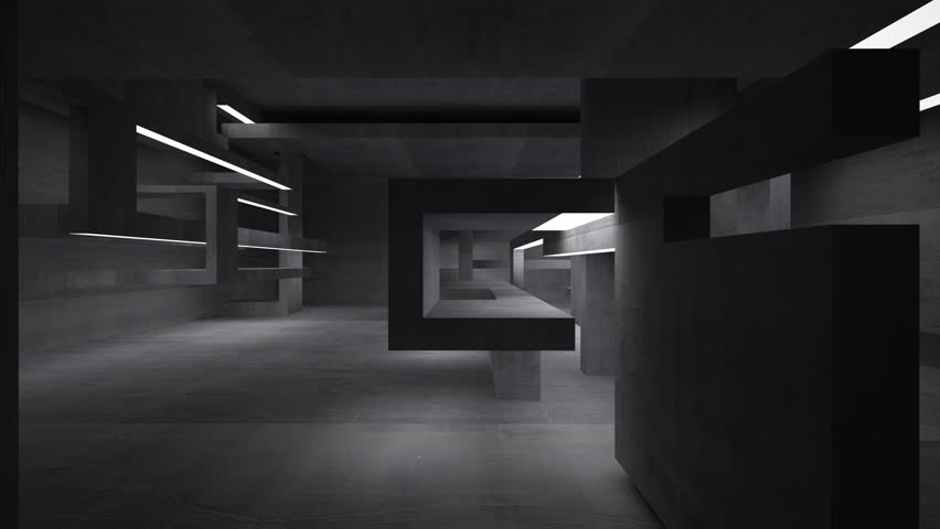 Empty abstract concrete room interior. 3D animation. 3D rendering. Part 2.