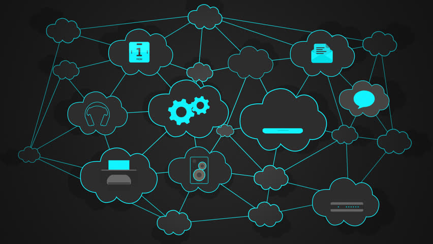 02594 Cloud Computing Connectivity Diagram On The Blue Background | Shutterstock HD Video #16047583