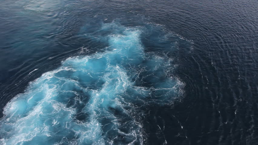 September 2011 - Bonaire -  Swirling colors of ship's wake