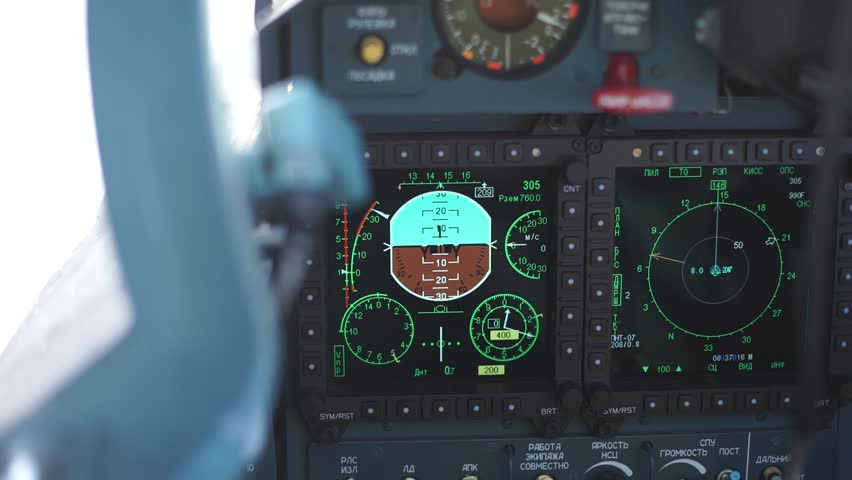 Interior control cabin of military airplane. Cockpit close view | Shutterstock HD Video #16069288