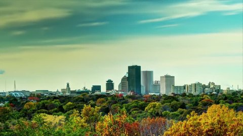 An HDR Time lapse of the Rochester, NY Skyline in Autumn.