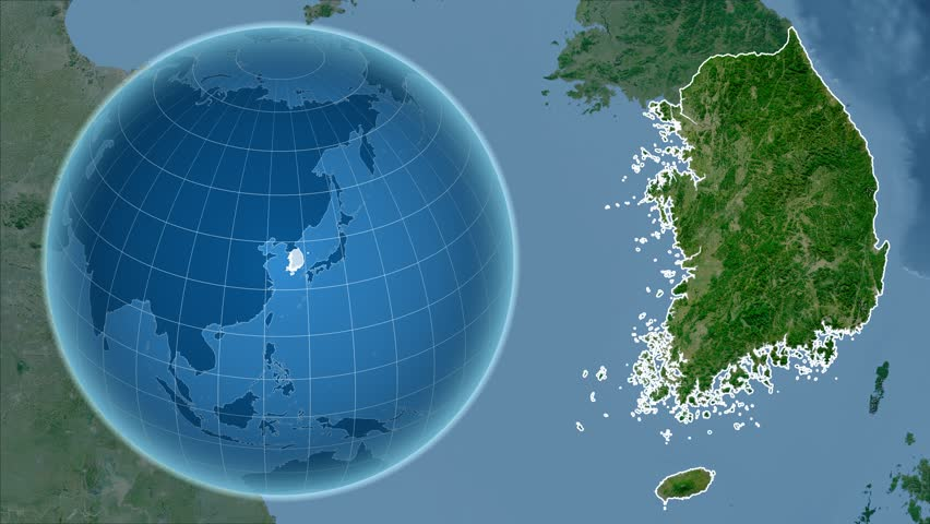 North Korea Shape Animated On The Relief Map Of The Globe Stock - Map of the globe