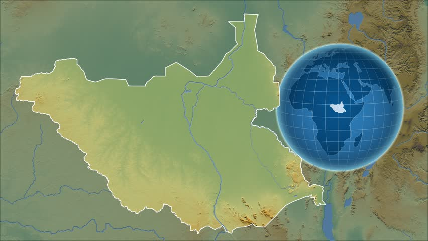 South Sudan Shape Animated On The Physical Map Of The Globe Stock