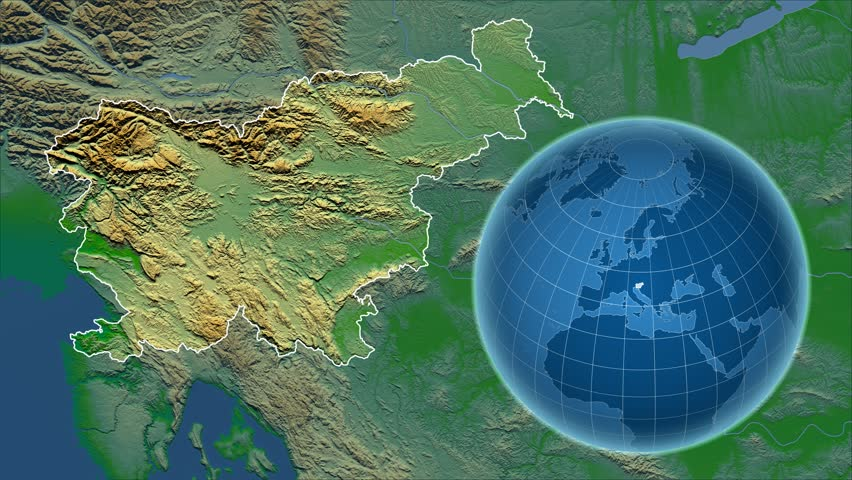 Slovenia Shape Animated On The Relief Map Of The Globe Stock Footage