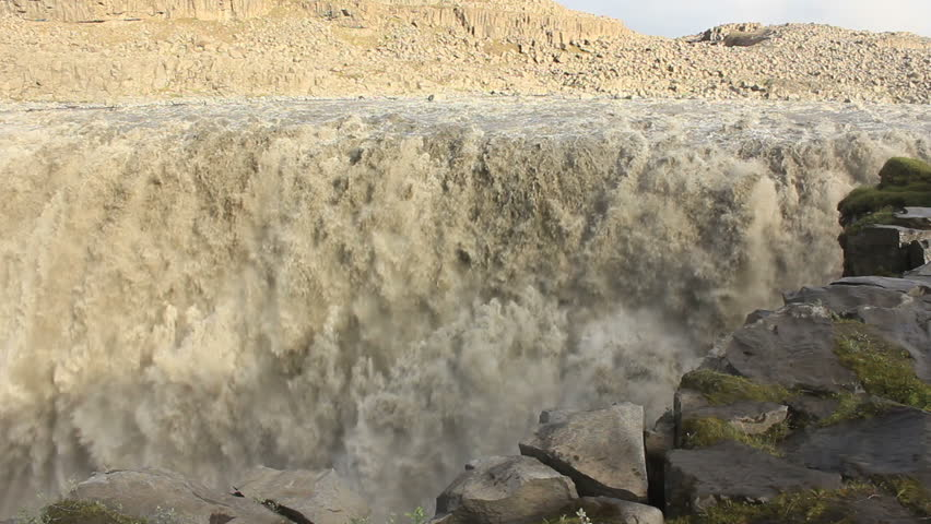 Dettifoss on Iceland: Europe's largest waterfall - Close-up shot