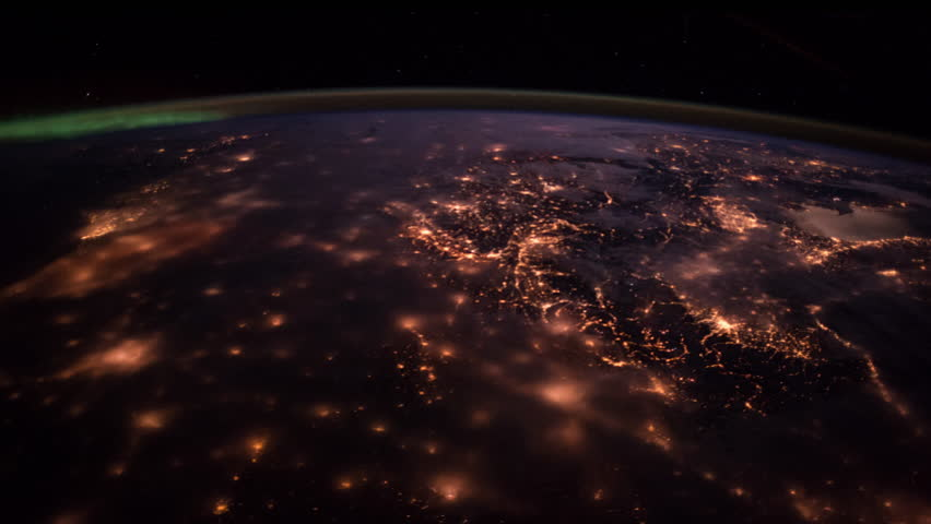 View on Earth at night from space 4K | Shutterstock HD Video #16160773