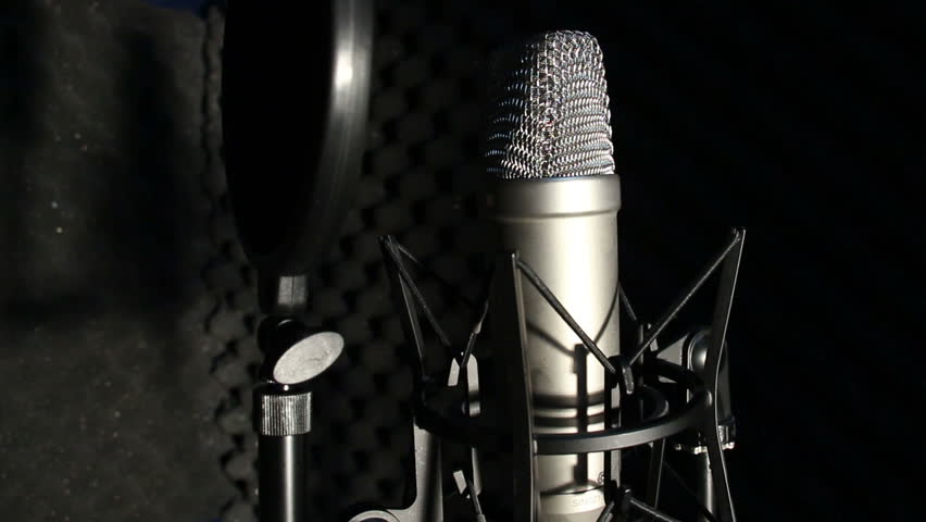 Microphone On A Stand Located In Music Studio Recording Booth Under Low Key Light Stock Footage Video 16209673