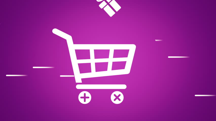Animation of fast moving basket shop with falling into basket gift animation of fast moving basket shop with falling into basket gift boxes and shop bags in negle Images