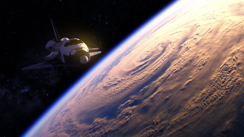 Space Shuttle Flying Over The Earth. 3D Animation.