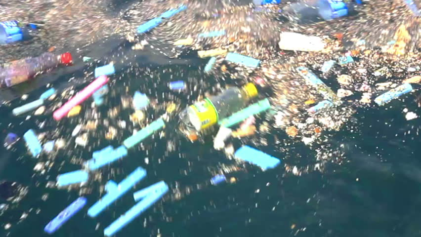 Garbage plastics floating in the sea