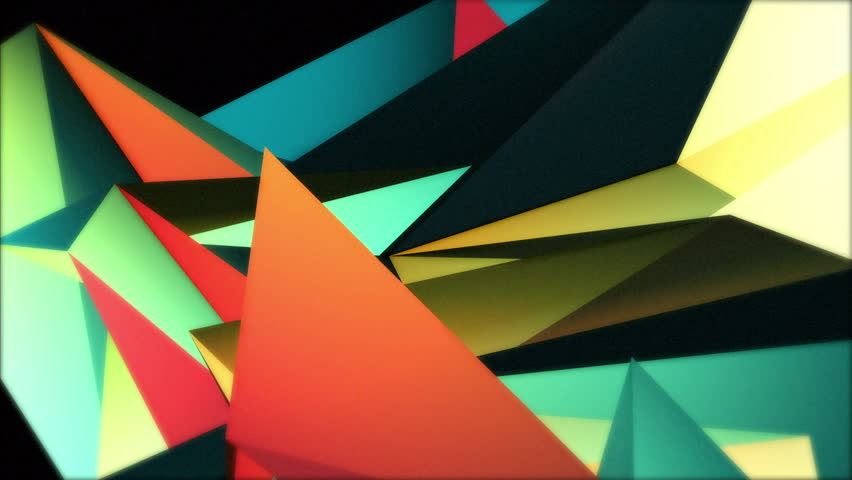 Color Collage. A crazy set of moving triangles is rotating and changing colors over 20 seconds. Summer colors, ideal to create nice kaleidoscopic effects.