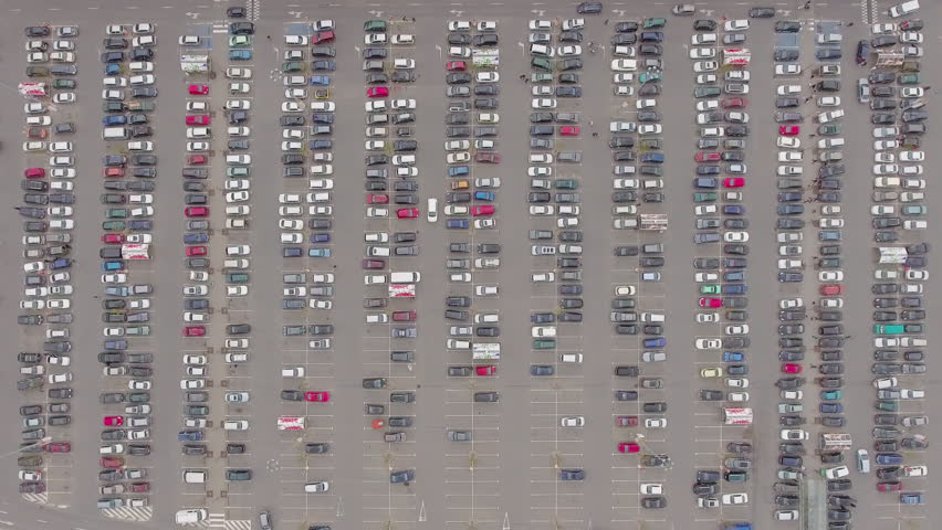 Parking lot of typical big shopping mall, iconic aerial view. | Shutterstock HD Video #16275010