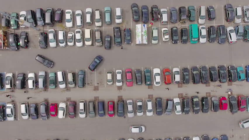 Parking lot of typical big shopping mall, iconic aerial view. | Shutterstock HD Video #16275013