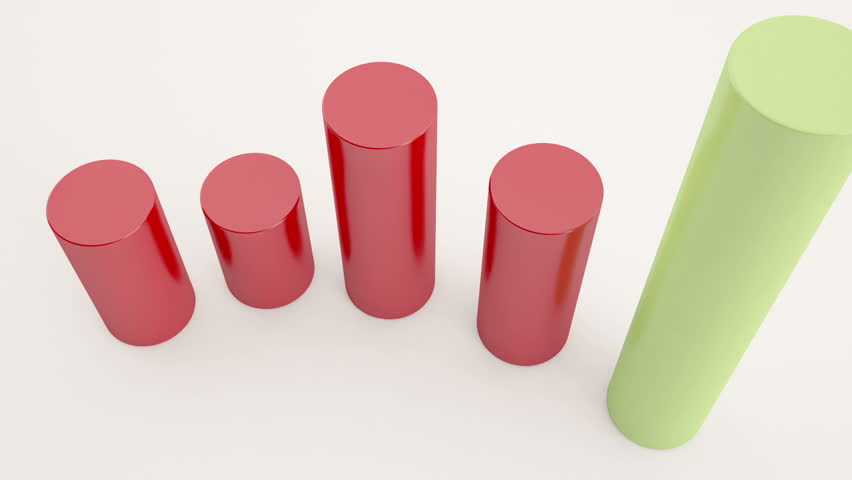 3D rendering Growing Business Chart. Different variations of cylinder formation to show business related animation