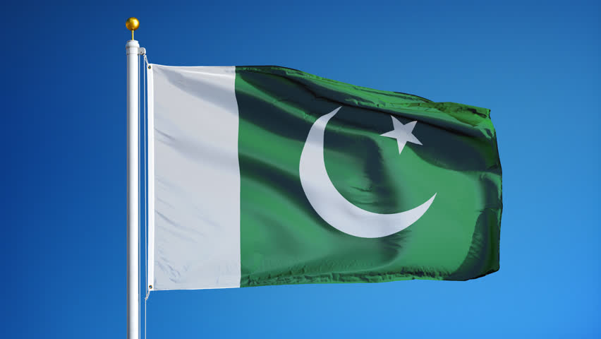 Pakistan flag waving in slow motion against clean blue sky, seamlessly looped, close up, isolated on alpha channel with black and white luminance matte, perfect for film, news, digital composition