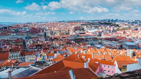 Timelapse 4k: Lisbon Panorama. Lisbon is capital of Portugal. It is continental Europes westernmost capital city. Lisbon lies in western Iberian Peninsula on Atlantic Ocean and River Tagus.