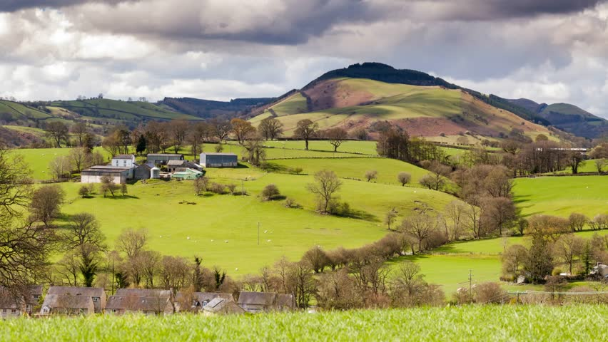 Hilly Pastures of Snowdonia in North Wales, UK