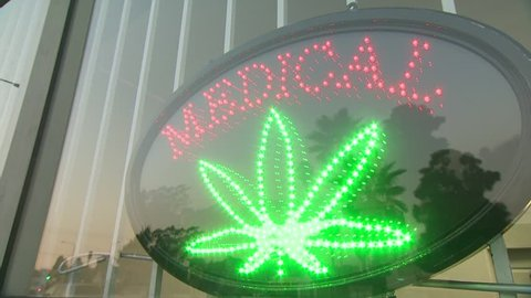 Medical Marijuana sign at dispensary.