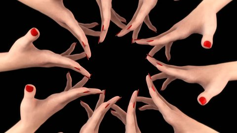 WOMEN'S HANDS IN CIRCLE PLAYING with FINGERS. Best motivational intro for any social TV show, news or movie. Perfect for women's rights movement, fashion show or beauty spa design. ALPHA CHANNEL.