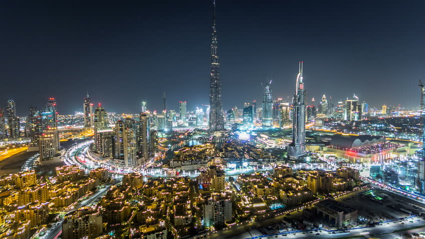 Dubai Downtown at night timelapse view from the top in Dubai, United Arab Emirates #16295998