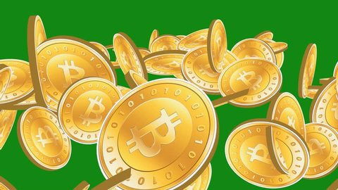 Many Gold bitcoin coins flying in air on Green Background,Virtual Currency. cg_00260
