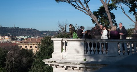 Rome Italy Terrazza Del Pincio Timelapse Without Movement January 2015