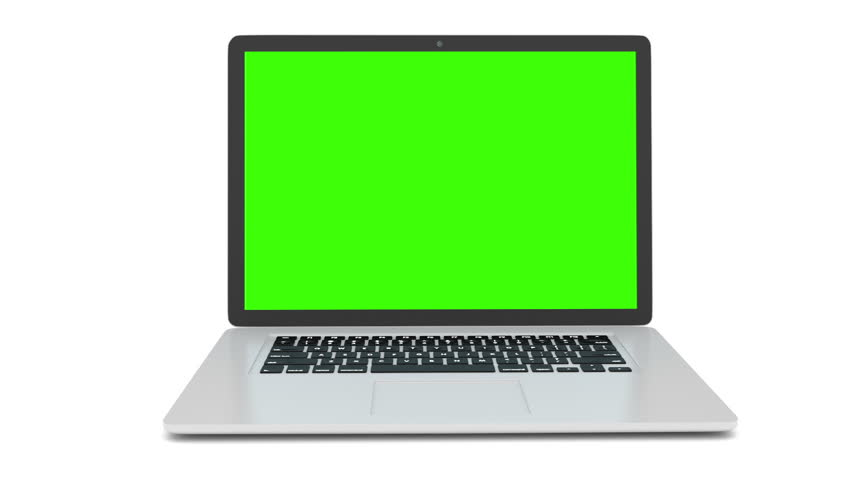 Isolated laptop with green screen on white background. Camera rotating around notebook. Template empty green screen. | Shutterstock HD Video #16377706