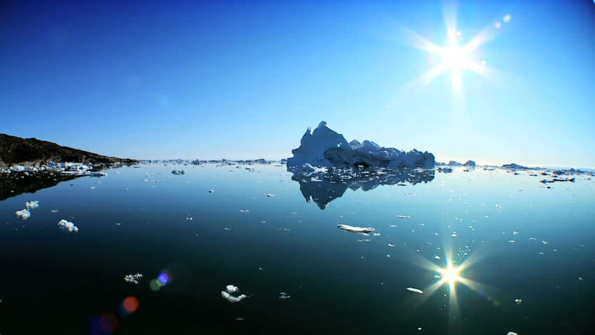Large Floating Icebergs Broken from a Glacier