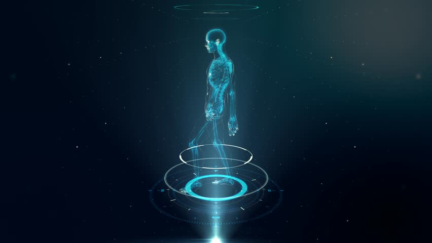 Human Avatar WALKING on Virtual 3D Holographic Projection with Futuristic Blue HUD. Male x-ray skeleton scan - LOOP