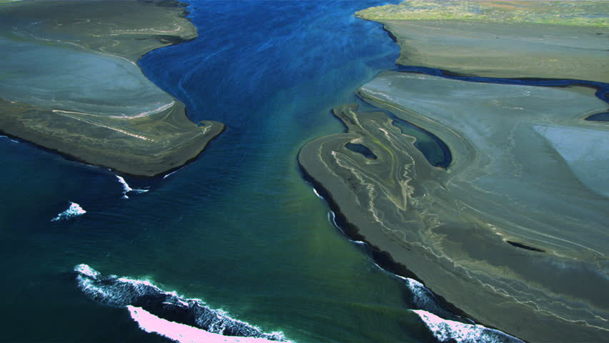 Aerial View of the Coastline Leading to a River Delta, Iceland