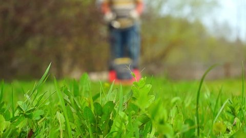 Green grass in the foreground and man with lawn mower approaching in the background