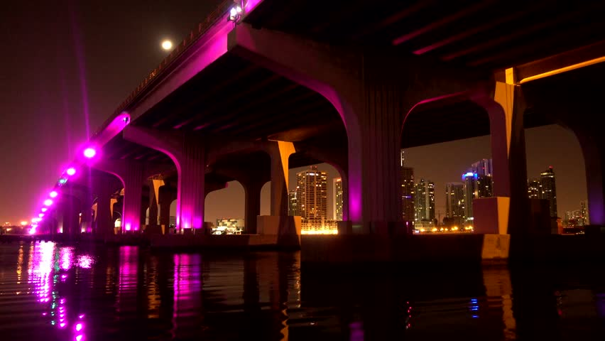 Mc Arthur Causeway From Miami To Beach Illluminated At Night