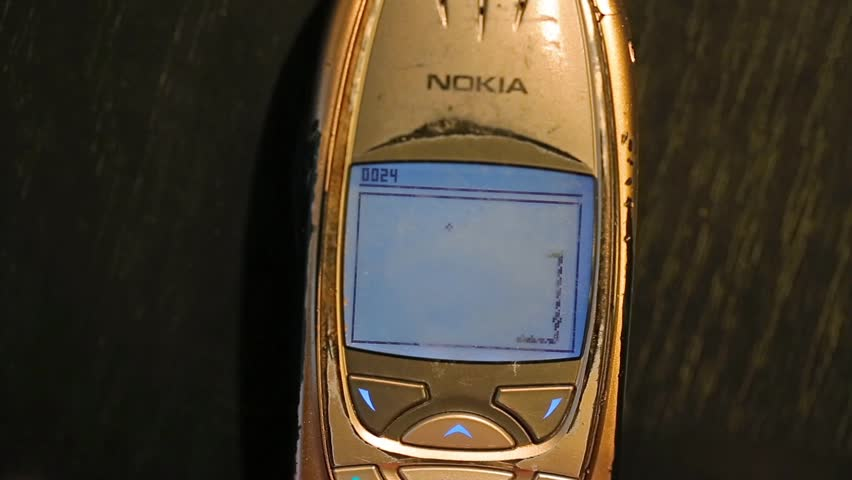 BUDAPEST, HUNGARY - MAY 03, 2016: Classic game Snake II being played on a Nokia 6310i cellphone