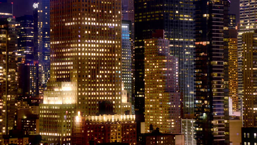 time lapse of midtown skyscrapers at night #16497493