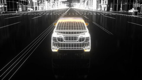 car going to the  city, wireframe style view