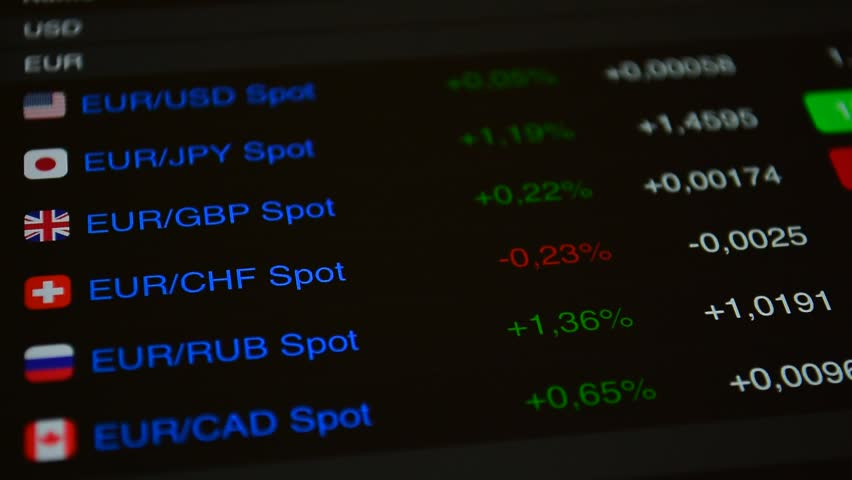 Forex Currency Exchange Data Rate For Eur Gbp Chf Rub Trading Floor Monitor Of Prices Loop Background