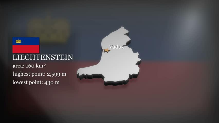 Seamless looping 3D animation of the map of Liechtenstein including 2 versions and alpha matte   Shutterstock HD Video #16525303