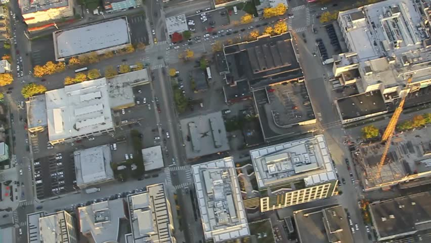 Aerial View of Downtown Streets, Traffic and Buildings | Shutterstock HD Video #1653343
