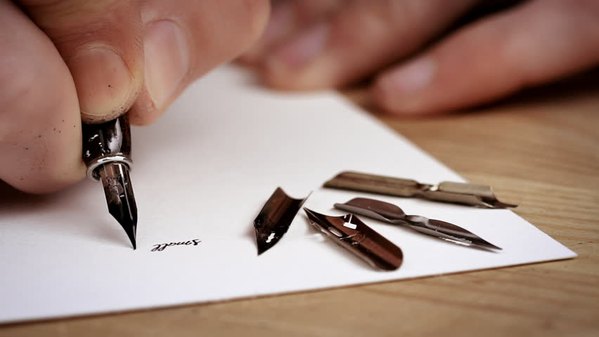 Man writing letter calligraphy lesson close up slow motion man writing letter calligraphy lesson close up slow motion stock footage video 16561693 shutterstock altavistaventures Images