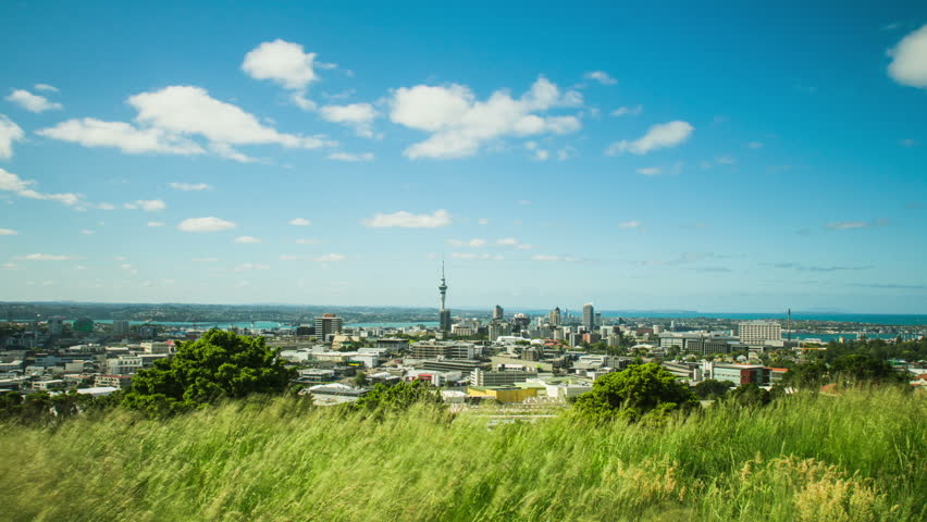 Time Lapse - Ariel View of Downtown Auckland, New Zealand